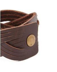 The Idle Man - Brown Leather Cuff for Men - Lyst