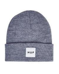 Huf - Gray Box Logo Beanie Grey for Men - Lyst