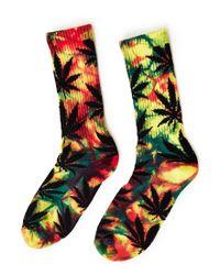 Huf | Tiedye Plantlife Rainbow Crew Sock Yellow for Men | Lyst