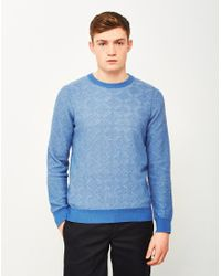 Gant Rugger | Textured Crew Jumper Blue for Men | Lyst