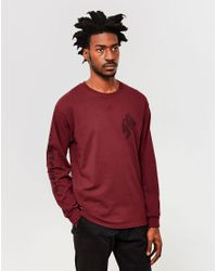 The Idle Man   Red Notoriety Long Sleeve T-shirt Burgundy for Men   Lyst