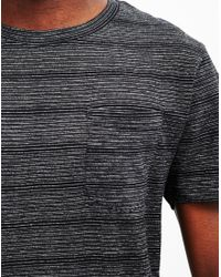 The Idle Man - Gray Slub Stripe T-shirt Black for Men - Lyst