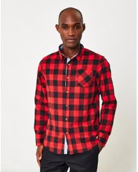 The Idle Man - Gray Heavily Brushed Check Shirt Red for Men - Lyst