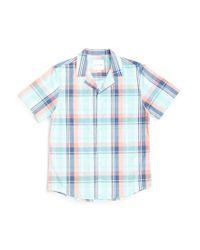 The Idle Man - Retro Plaid Madras Revere Collar Shirt Green for Men - Lyst
