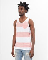 The Idle Man - Wide Stripe Pocket Vest White & Red for Men - Lyst