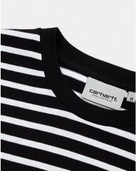 4e7f035a34 Lyst - Carhartt WIP Long Sleeve Robie Striped Tshirt Black Red in ...