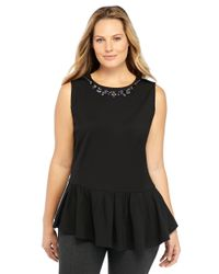 The Limited - Black Plus Size Ponte Necklace Top - Lyst
