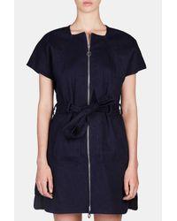 Edun - Blue Twill Short Sleeve Dress - Lyst
