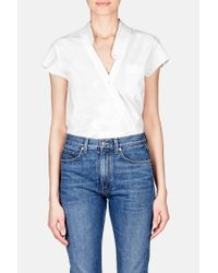 T By Alexander Wang - Blue Cross Front Short Sleeve Poplin Bodysuit - Lyst