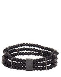 Icon Brand - Black Triple Bead Bracelet for Men - Lyst