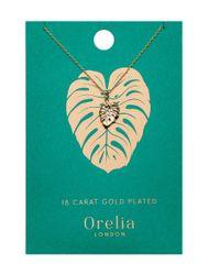Orelia - Metallic Palm Leaf Ditsy Necklace - Lyst