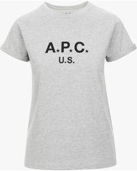A.P.C. | Gray U.s. Women's T-shirt | Lyst