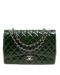 680dda09a2f4 Lyst - Chanel Quilted Patent Leather Maxi Classic Double Flap Bag in ...