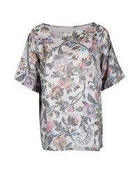 7238160a Dries Van Noten Floral Printed Silk Short Sleeve Top L in Gray - Lyst