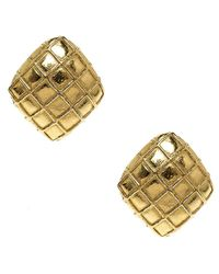 Chanel - Metallic Tone Square Clip On Earrings - Lyst