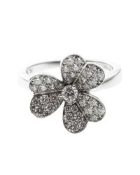 Van Cleef & Arpels - Metallic Frivole Diamond Pave 18k White Gold Ring - Lyst