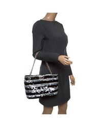 4a14a7520825 Lyst - Chanel /grey Striped Sequins Small Reissue Tote in Black