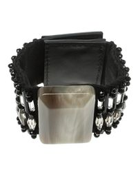 Marni - Black Beads Resin Square Wide Cuff Bracelet - Lyst