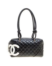 b1918a187bbb Chanel Black Quilted Leather Cambon Ligne Bowler Bag in Black - Lyst