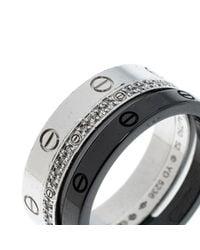Cartier - Metallic Love Diamond Ceramic 18k White Gold 3 Band Ring Set - Lyst