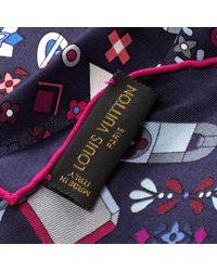 Louis Vuitton - Navy Blue Monogram Printed Silk Square Scarf - Lyst