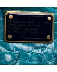 Marc By Marc Jacobs - Green Blue Croc Embossed Coated Fabric Hobo - Lyst