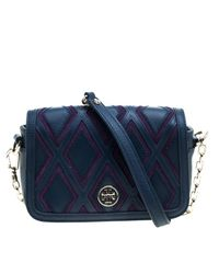 Tory Burch - Blue /purple Leather And Suede Patchwork Robinson Chain Shoulder Bag - Lyst