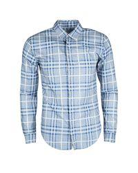 946c3b1f4b07 Burberry London Plaid Checked Cotton Long Sleeve Shirt M in Blue for ...
