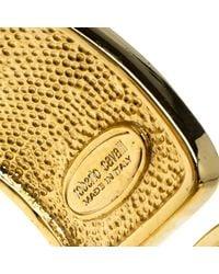 Roberto Cavalli - Black Art Deco Enamel Crystal Gold Tone Wide Cuff Bracelet - Lyst