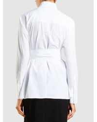 FRAME - White Tie-waist Cotton-poplin Shirt - Lyst