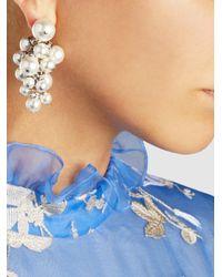 Lanvin - Multicolor Crystal-embellished Pearl Cluster Earrings - Lyst