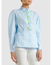 Delpozo - Blue Appliquéd Cotton Shirt - Lyst