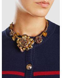 Erickson Beamon - Metallic Crystal Flower Necklace - Lyst