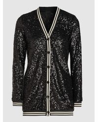 Anna Sui Black Sparkling Nights Sequined Cardigan