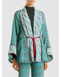 Talitha - Green Printed Belted Robe - Lyst