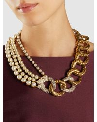 Erickson Beamon - Metallic Gold-plated Faux Pearl Necklace - Lyst