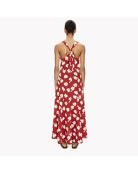 Theory - Red Printed Silk Crepe Maxi Dress - Lyst