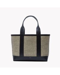 Theory | Natural Small Signature Open Tote In Raffia And Leather | Lyst