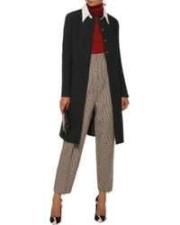 Prada - Black Two-tone Wool-crepe Peplum Coat - Lyst