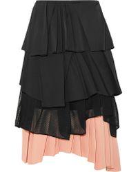 Cedric Charlier | Black Pleated Satin, Cotton-blend Poplin, Mesh And Crepe Skirt | Lyst