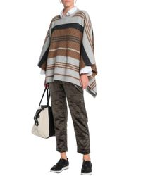 Brunello Cucinelli - Multicolor Woman Cropped Cotton-blend Crushed-velvet Straight-leg Pants Army Green - Lyst