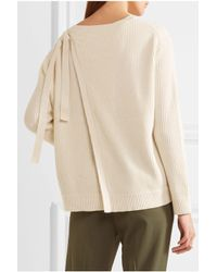 Vince - Natural Tie-back Ribbed Cotton And Cashmere-blend Sweater - Lyst