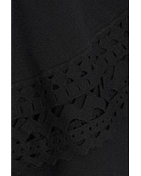 MILLY - Black Fluted Laser-cut Stretch-knit Top - Lyst