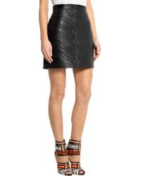 Balmain   Black Quilted Leather Mini Skirt   Lyst
