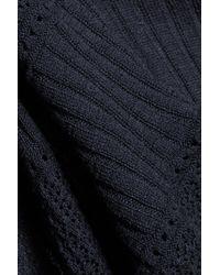 Autumn Cashmere - Pointelle-knit Cotton Top Storm Blue - Lyst
