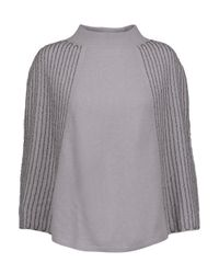 Halston Heritage - Gray Beaded Wool And Cashmere-blend Poncho - Lyst