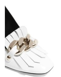 Casadei | White Embellished Fringed Patent-leather Pumps | Lyst