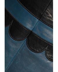 RED Valentino - Black Paneled Leather Skirt - Lyst