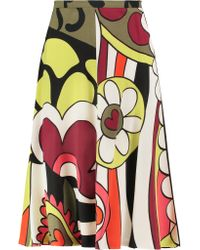 RED Valentino | Multicolor Printed Crepe Midi Skirt | Lyst