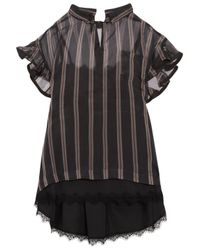Sacai - Black Ruffled Striped Silk-organza Top - Lyst